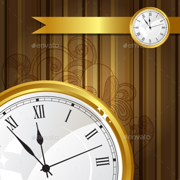 GraphicRiver Background with Gold Watches and Ribbon 10043520