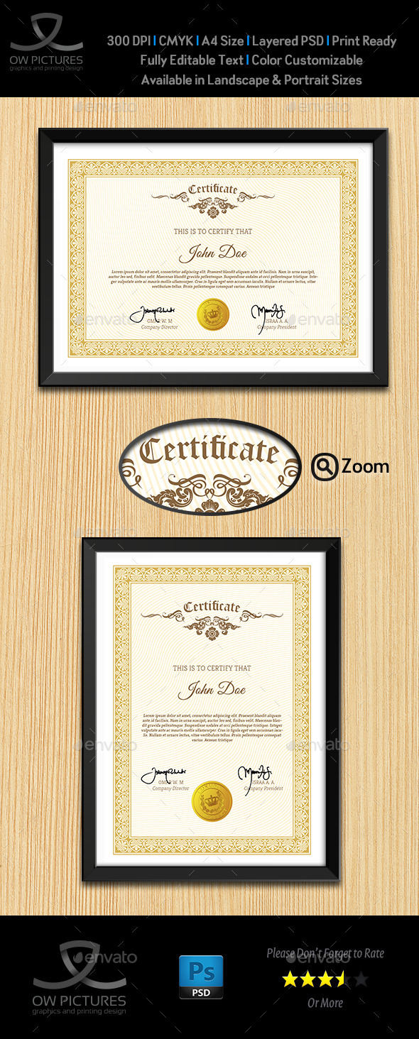 GraphicRiver Multi Purpose Certificates Template Vol.3 10043568