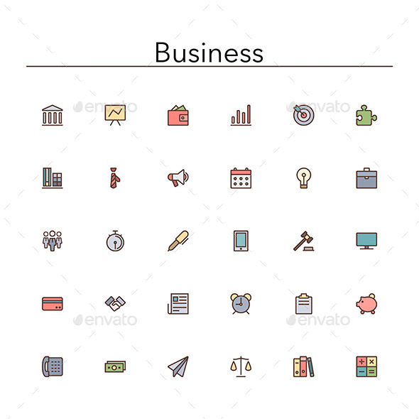 GraphicRiver Business Colored Line Icons 10046111