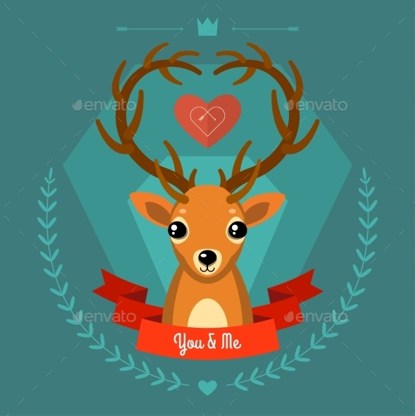 GraphicRiver Greeting Card with Deer on Blue 10046154