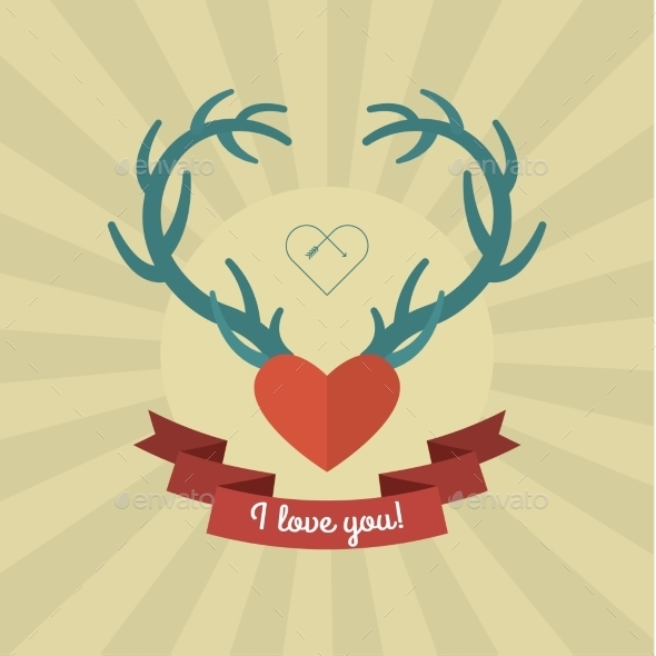 GraphicRiver Heart with Blue Deer Antlers 10046159