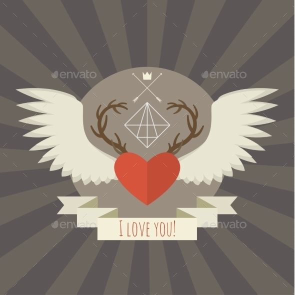 GraphicRiver Heart with Deer Antlers and Wings on Gray 10046166