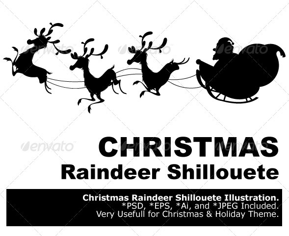 GraphicRiver Reindeer Silhouette And Santa Claus Christmas 1010523