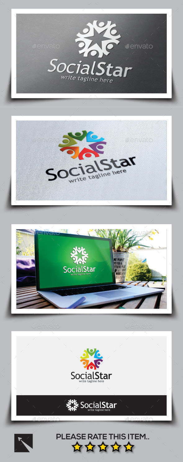 GraphicRiver Social Star Logo Template 10046965