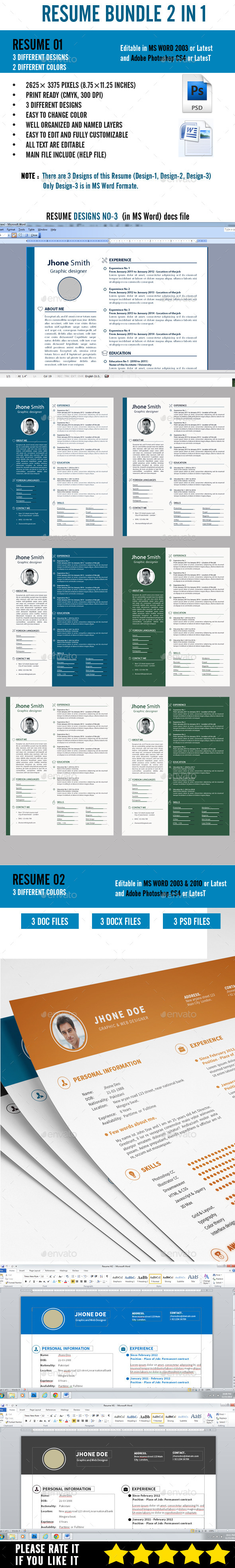 GraphicRiver Resume Bundle 2 in 1 10047029