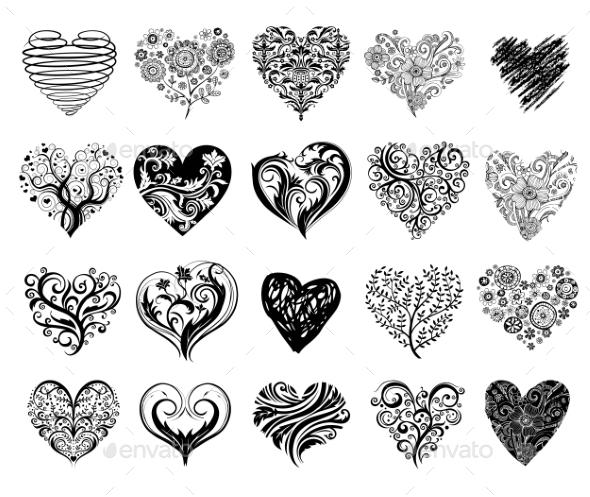 GraphicRiver Tattoo Hearts 10047218