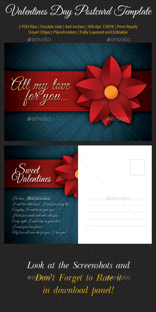 GraphicRiver Valentines Day Postcard Template V02 10047463