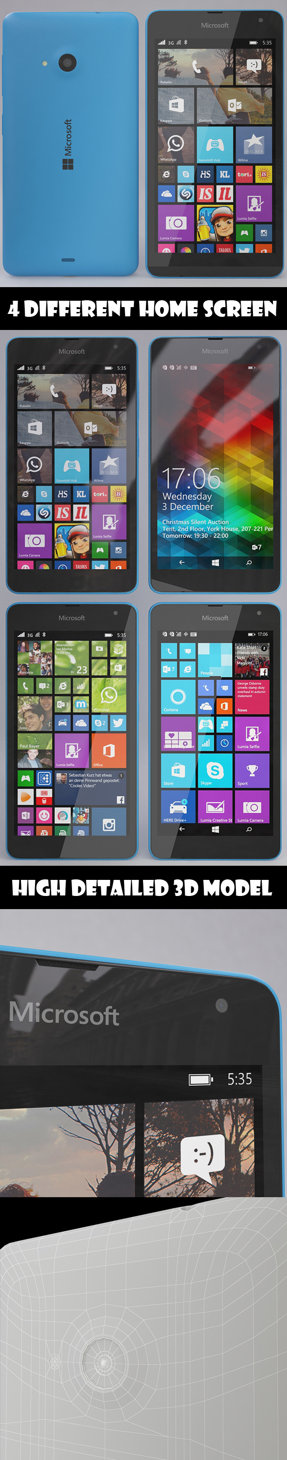 Microsoft Lumia 535 Blue - 3DOcean Item for Sale