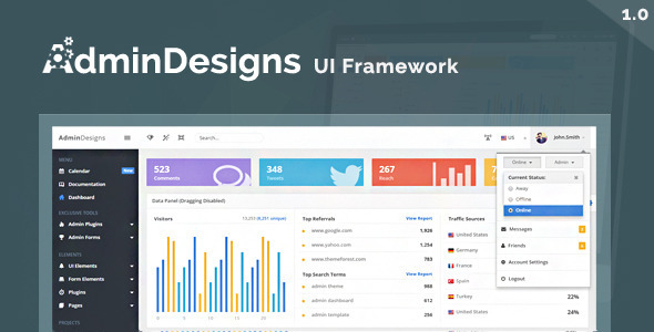 AdminDesigns - Responsive Admin UI Framework - Admin Templates Site Templates