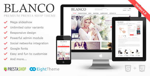 Blanco is clear, easy to customize PrestaShop template. Many new features such as MegaMenu, powerful admin module, slideshow, new products display on homepage,