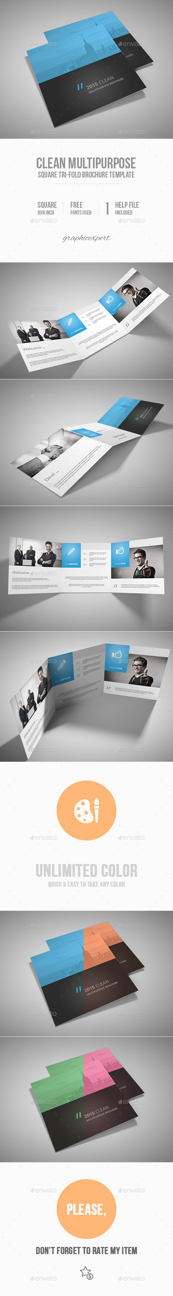 GraphicRiver Square Tri-Fold Brochure Multipurpose 10048057