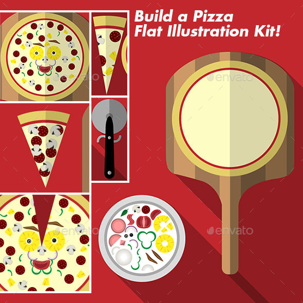 GraphicRiver Build a Pizza Flat Illustration Kit 10048059