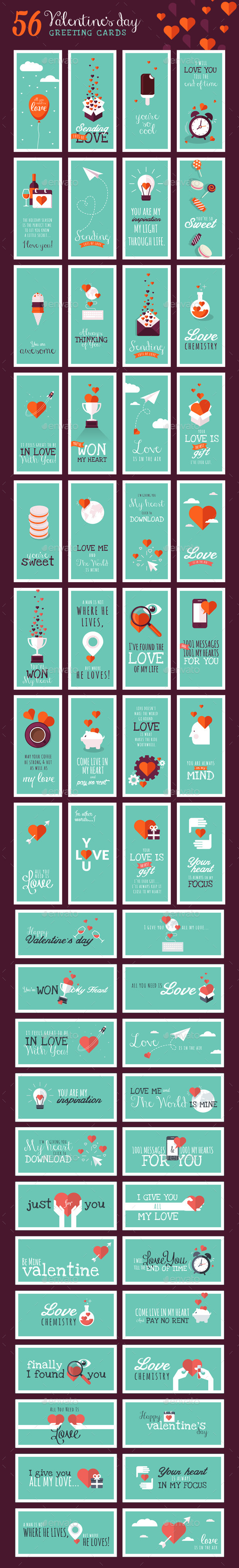 GraphicRiver Set of Valentines Day Greeting Cards 10030327