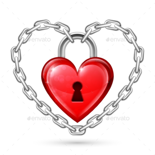 GraphicRiver Red Heart Lock and Chains 10049353