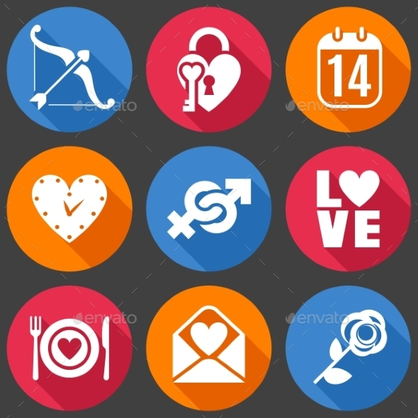 GraphicRiver Flat Love Icons 10049359