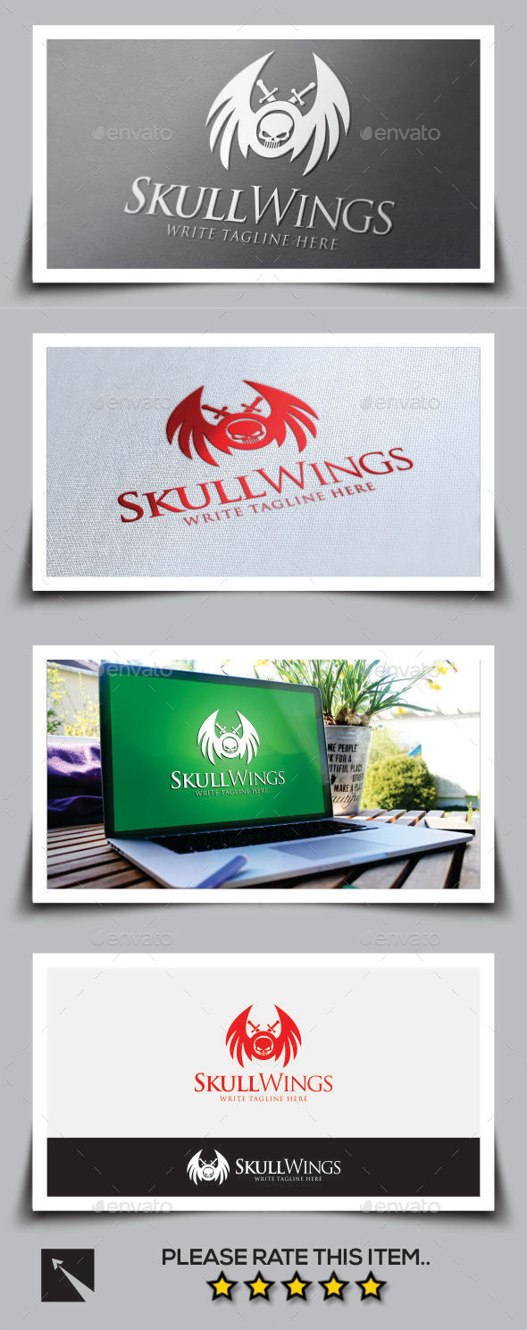 GraphicRiver Skull Wings Logo Template 10049423