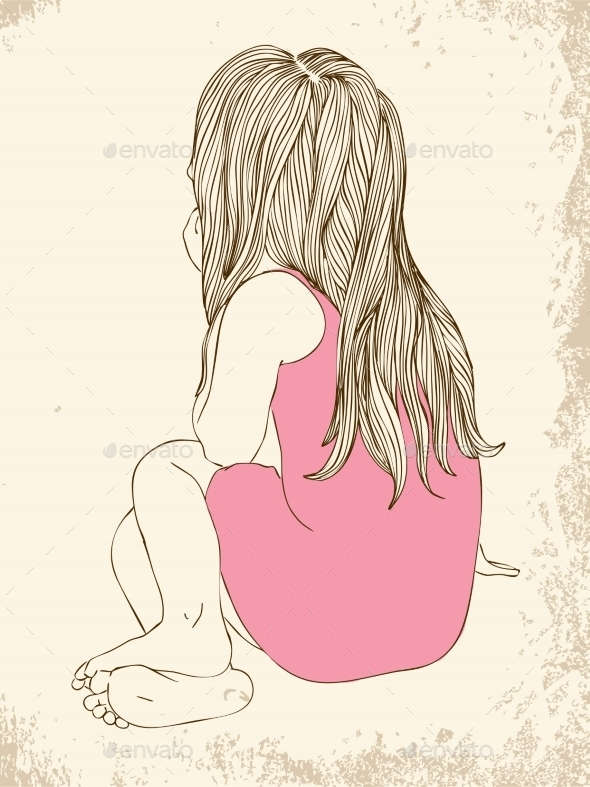 GraphicRiver Little Girl in a Pink Dress Sitting 10049578