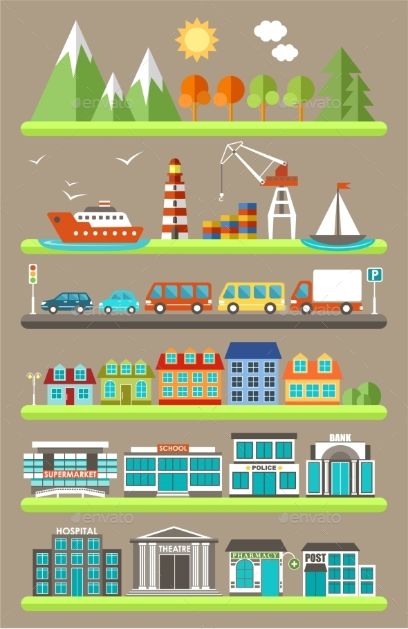 GraphicRiver Flat City Infographics 10049819