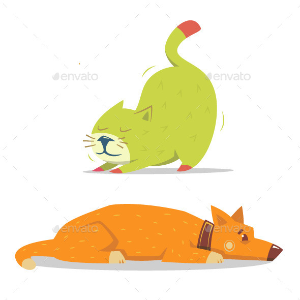 GraphicRiver Scratching Cat and Laying Dog 10050010