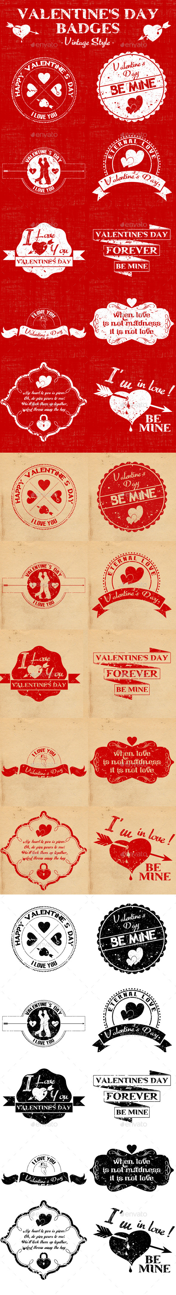 GraphicRiver Valentine s Day Badges Vintage Style 10050283