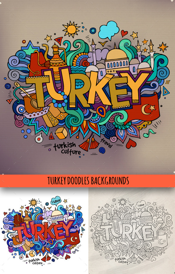 GraphicRiver 3 Turkey Doodles 10050387
