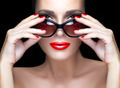 Fashion Model Woman in Black Oversized Sunglasses. Bright Makeup - PhotoDune Item for Sale