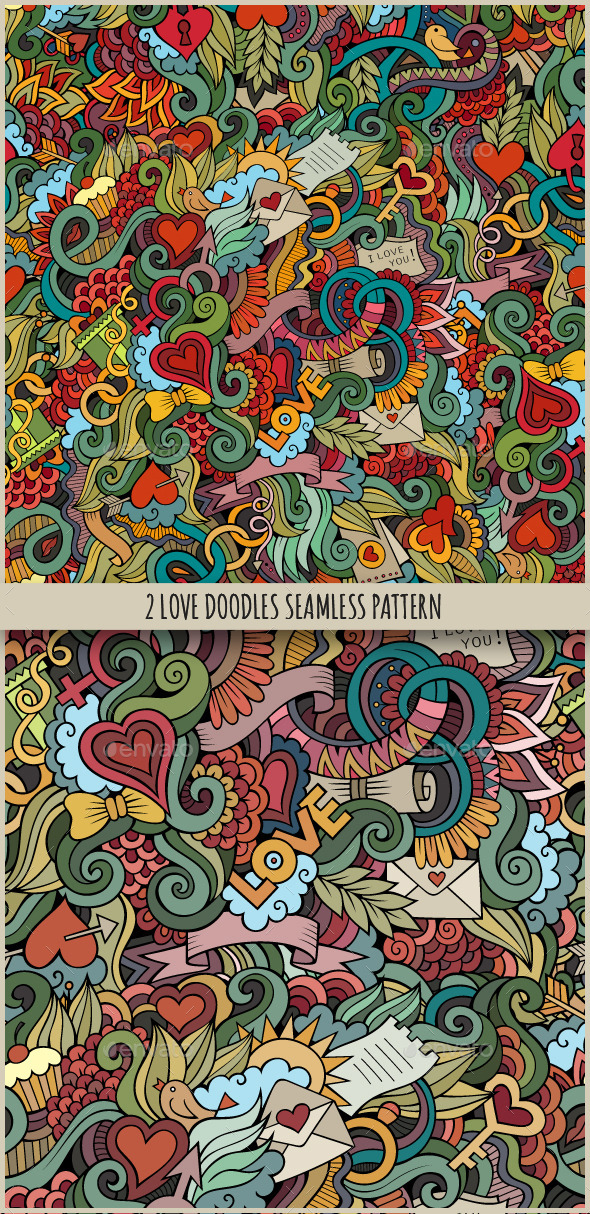 GraphicRiver 2 Love Doodles Seamless Pattern 10050490