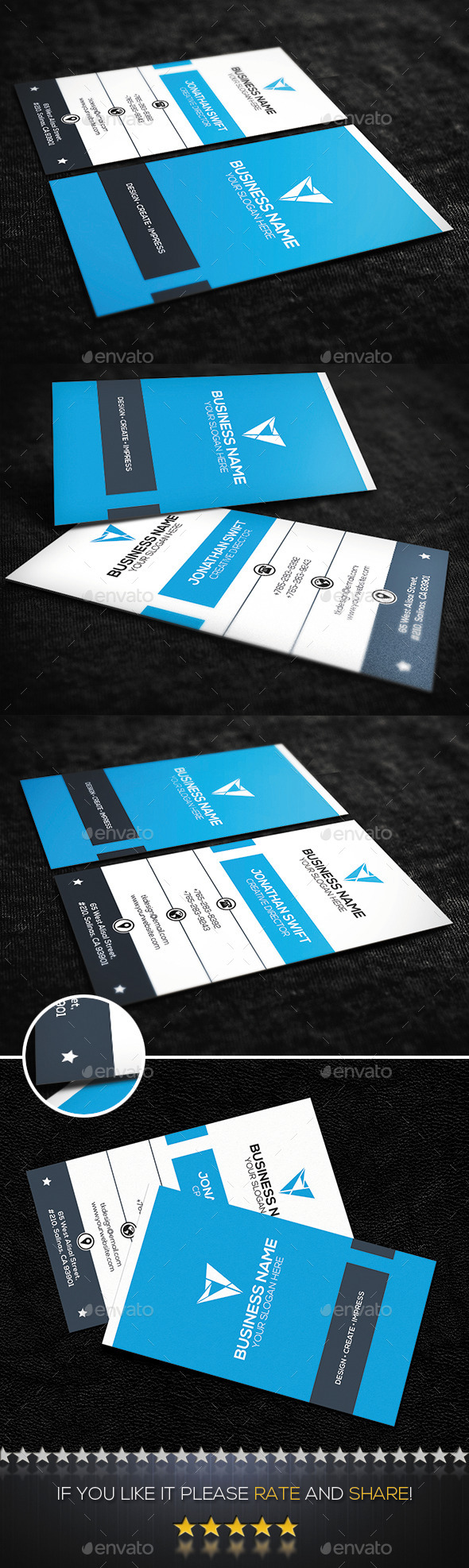GraphicRiver Blue Vertical Corporate Business Card 10050524