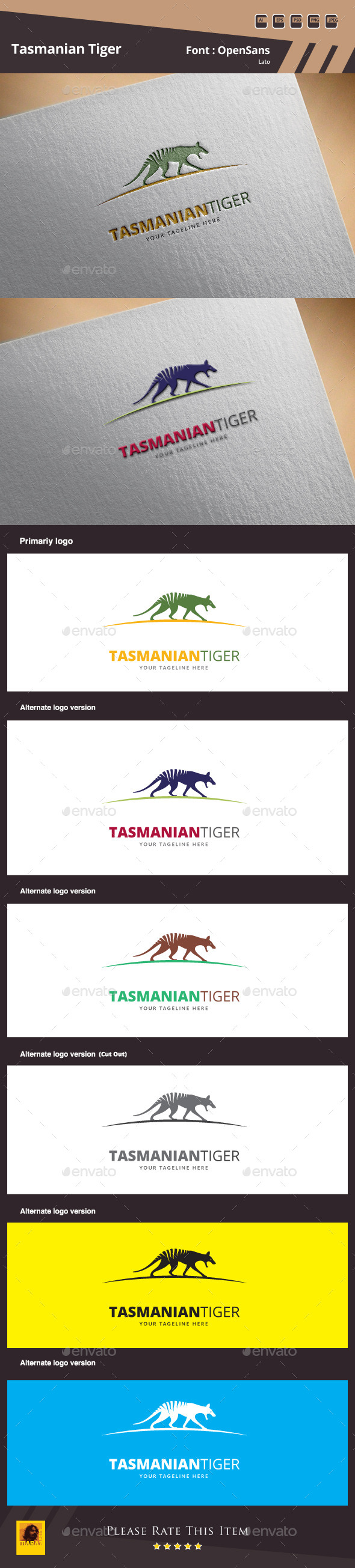 GraphicRiver Tasmanian Tiger Logo Template 10050718