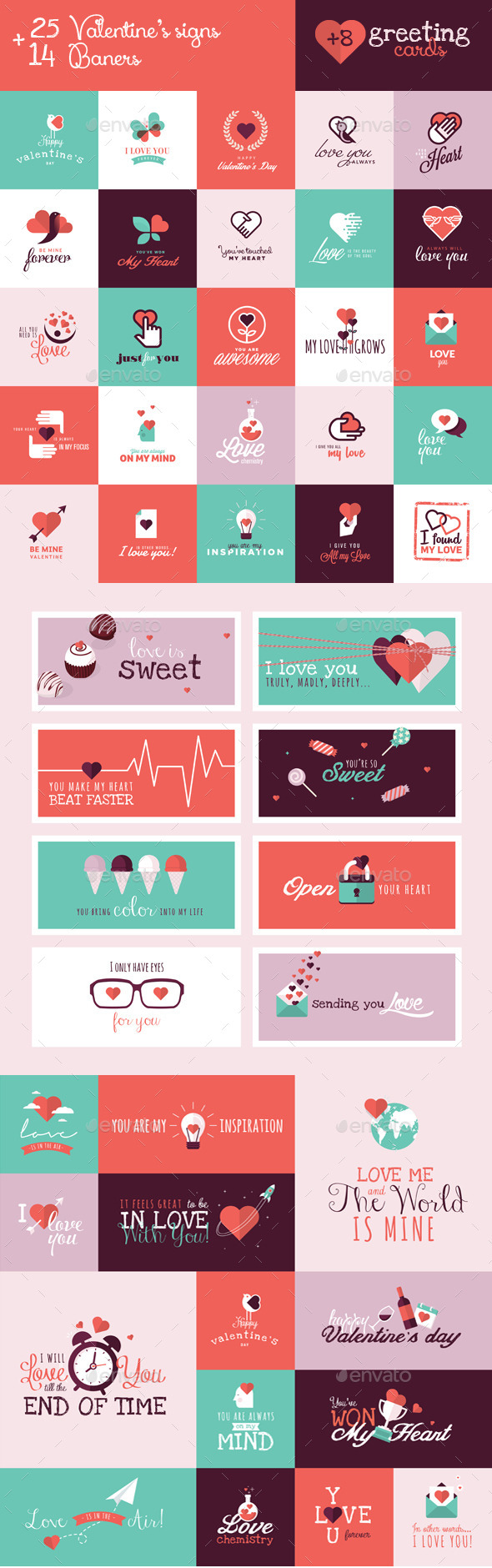 GraphicRiver Set of Valentines Signs and Banners 10029868