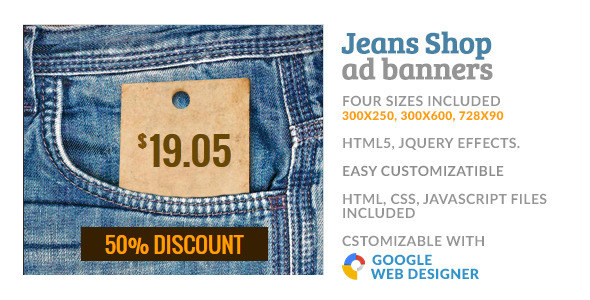 CodeCanyon Jeans Cloth Shop GWD HTML5 Ad Banner 10050787
