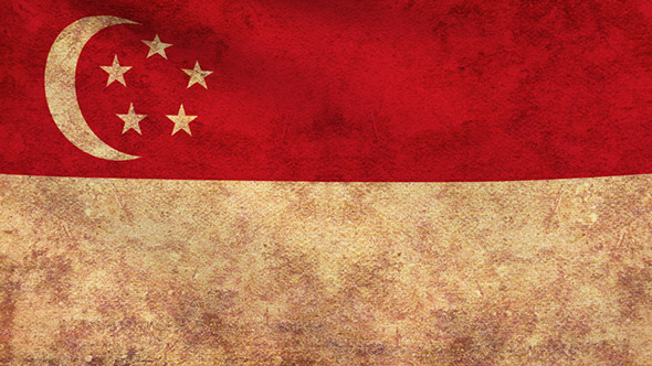 Singapore Flag 2 Pack Grunge and Retro