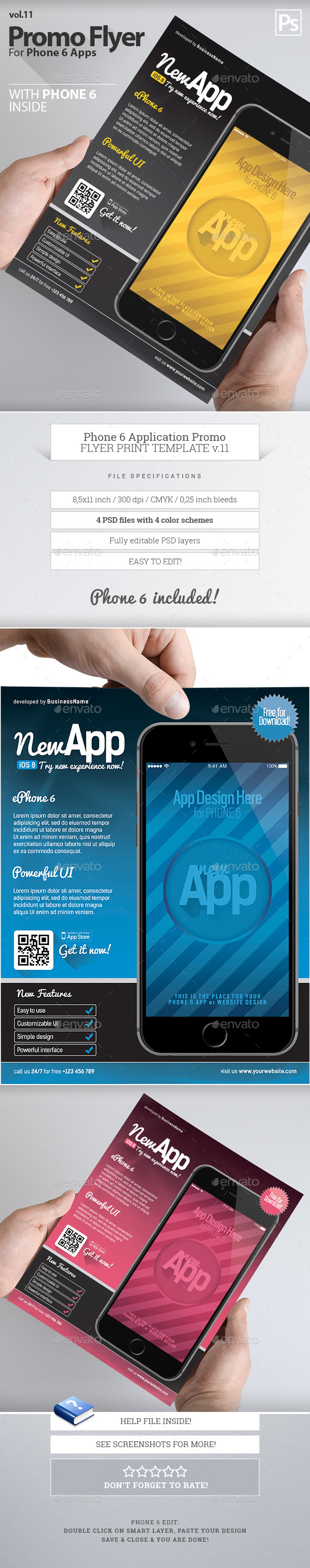 GraphicRiver Phone 6 App Flyers 11 10027394