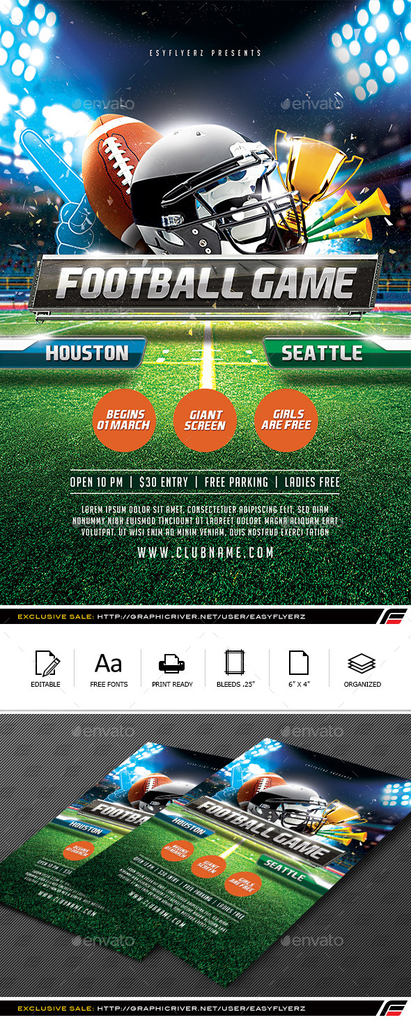 GraphicRiver Football Game Flyer Template 10052177