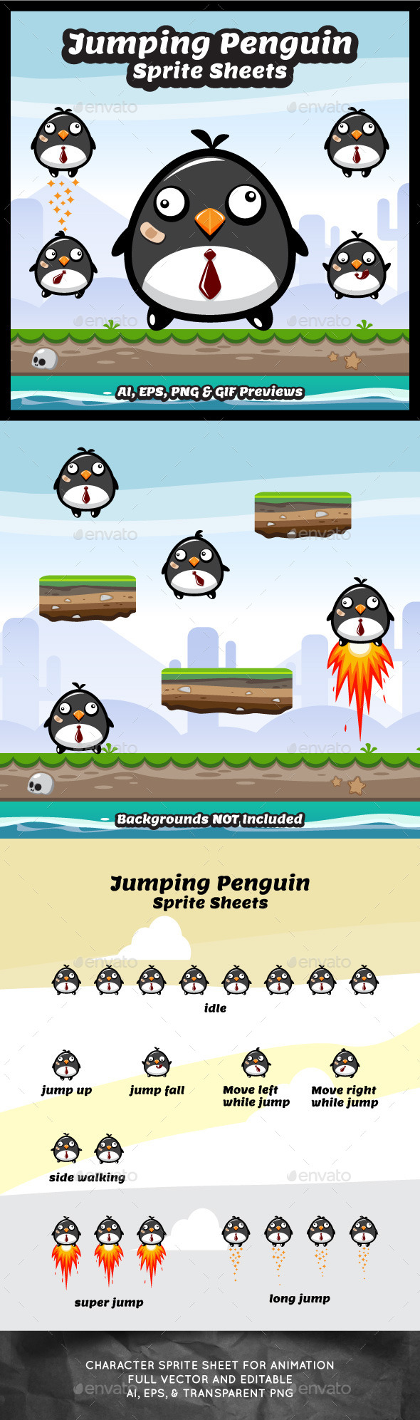 Jumping Penguin Sprite Sheets