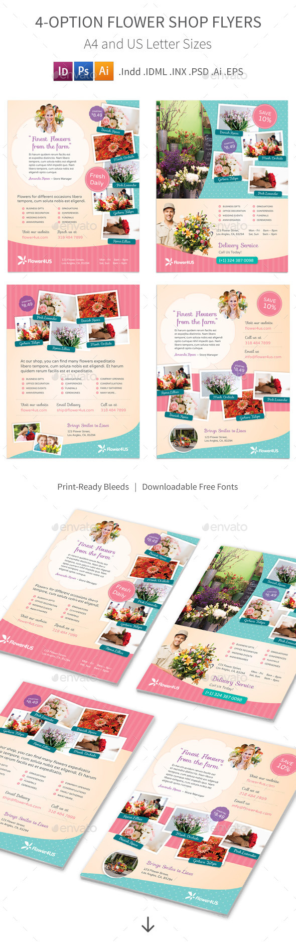 GraphicRiver Flower Shop Flyers 4 Options 10052473