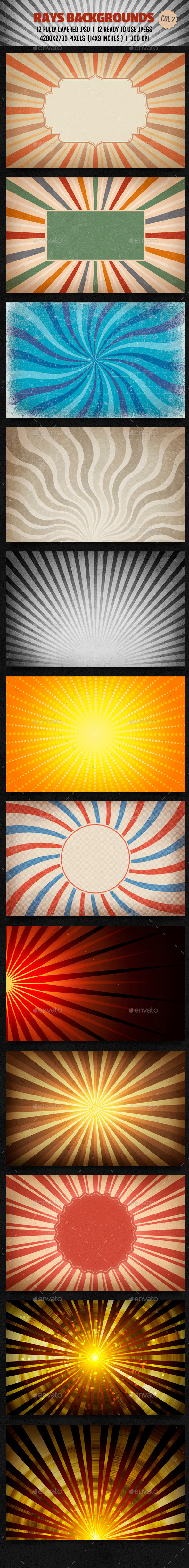 GraphicRiver Rays Backgrounds Col 2 10052567