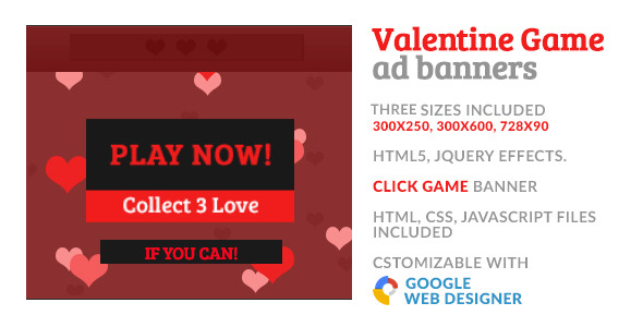 CodeCanyon Valentine Love Game GWD HTML5 Ad Banner 10029335