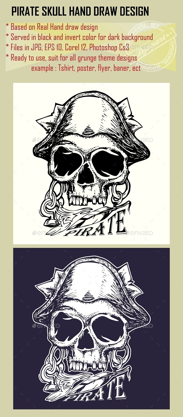 GraphicRiver Pirate Skull Hand Drawn in Grunge Style 10052947