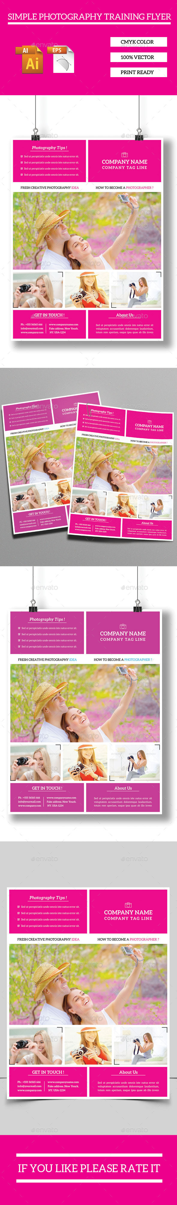 GraphicRiver Simple Photography Training Flyer 10053028