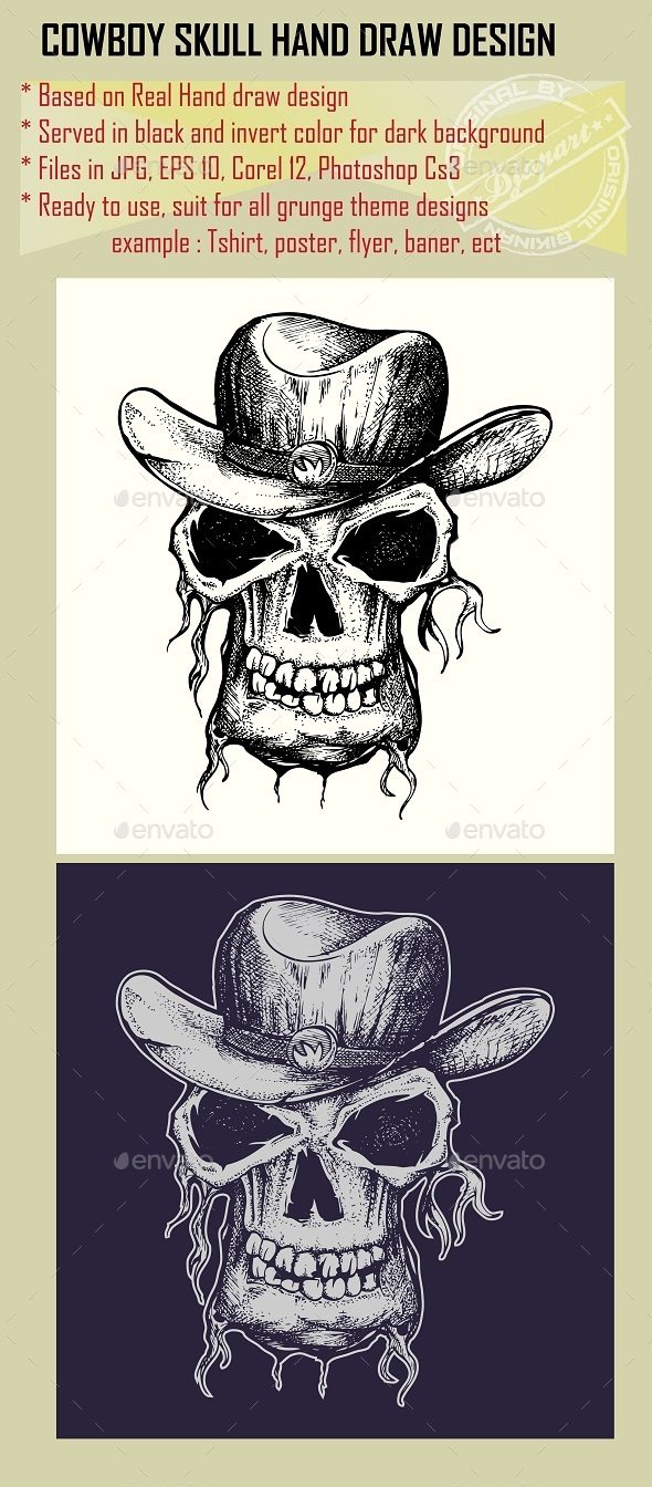 GraphicRiver Skull with Cowboy Hat 10053140