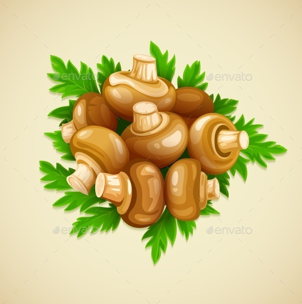 GraphicRiver Organic Mushrooms with Parsley 10053868