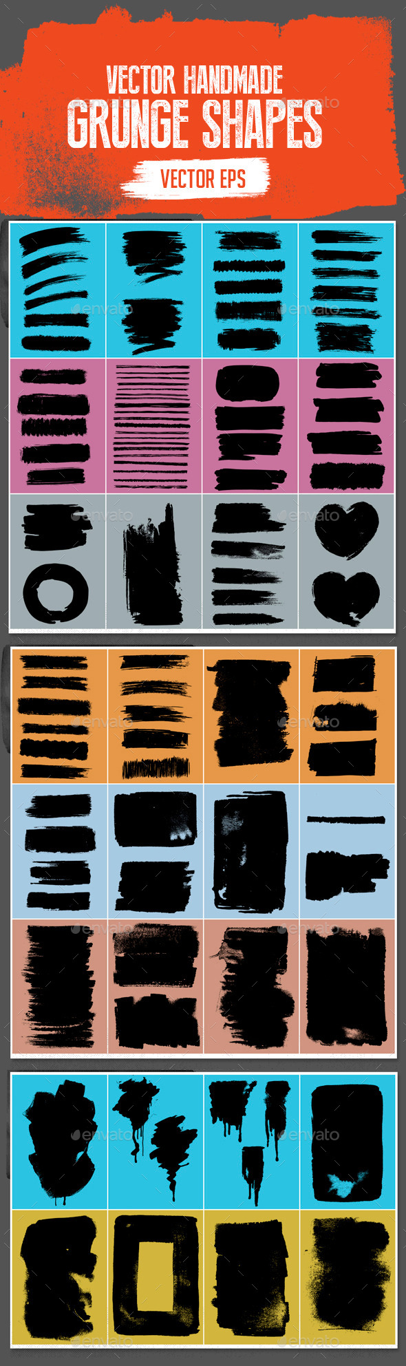 Handmade Vector Grunge Stroke Shapes Set
