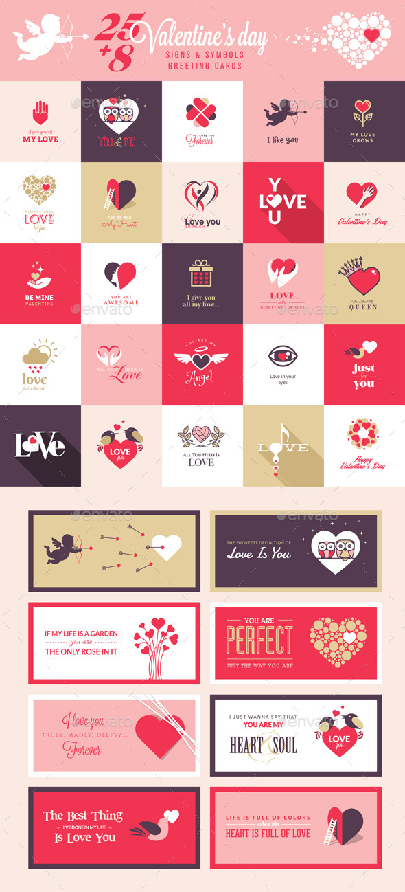 GraphicRiver Set of Love Icons and Greeting Cards 10036705