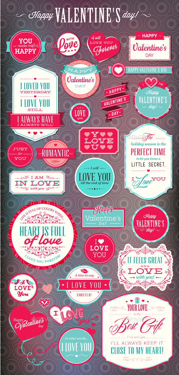 GraphicRiver Set of Love Badges and Labels 10036565