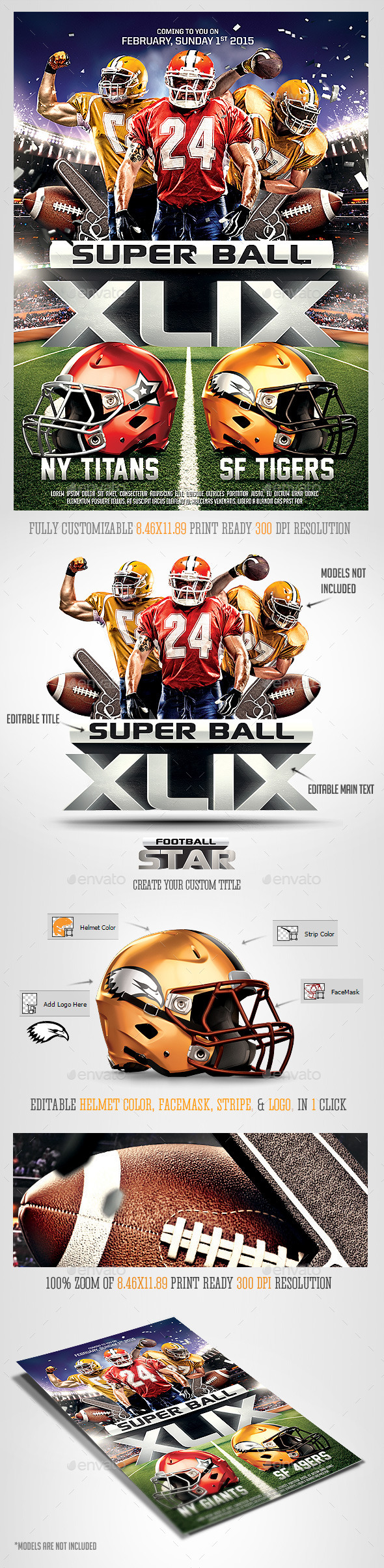 GraphicRiver Super Ball Football Party Flyer Template 10033811
