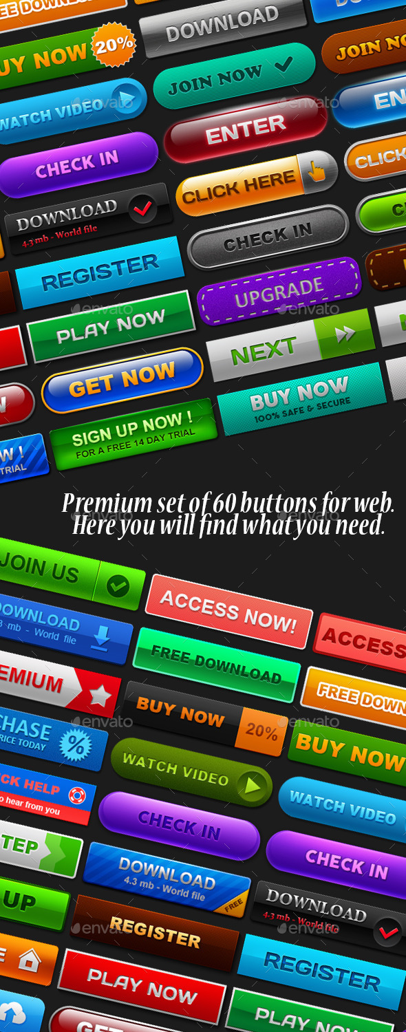 GraphicRiver Set of 60 buttons 10054109