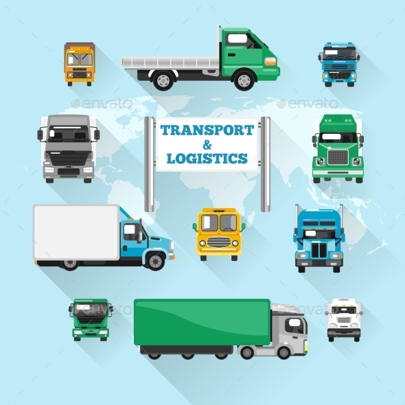 GraphicRiver Truck Icons Flat 10054195