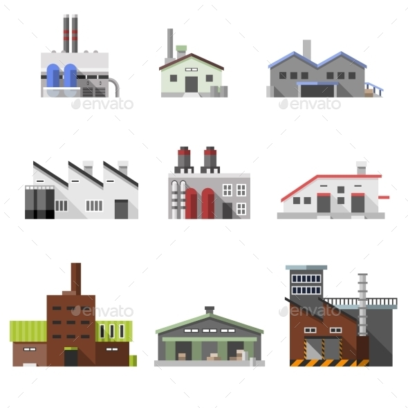 GraphicRiver Industrial Buildings Flat 10054201