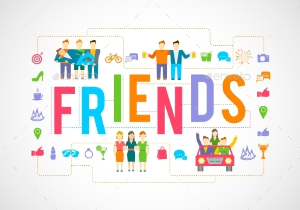 GraphicRiver Friends Icons Flat 10054345